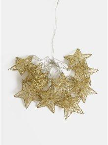LED světelný řetěz ve tvaru hvězd ve zlaté barvě Kaemingk