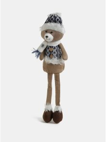 Bílo-hnědá sedící figurka ve tvaru medvěda Kaemingk