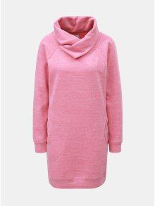 Růžové žíhané mikinové šaty s límcem ONLY Laura