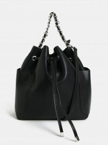 Černá vaková kabelka s odnímatelným popruhem Pieces Freja