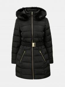 Černý zimní prošívaný kabát s odnímatelným páskem a umělou kožešinou Dorothy Perkins