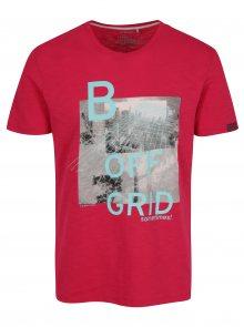 Tmavě růžové pánské slim fit tričko s potiskem s.Oliver