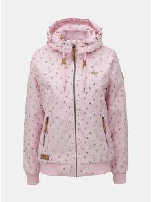 Růžová vzorovaná funkční bunda s kapucí Ragwear Nuggie