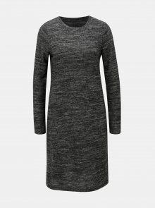Tmavě šedé žíhané šaty s dlouhým rukávem ONLY