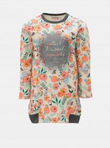 Růžovo-béžové květované mikinové šaty BÓBOLI