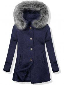Vlněný podzimní kabát 1950 tmavě modrá/šedá
