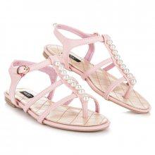 Stylové růžové sandály s korálky