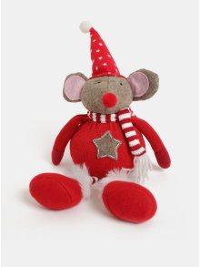 Červená vánoční figurka ve tvaru myši s čepicí s motivem hvězd Kaemingk