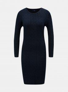 Tmavě modré svetrové šaty s dlouhým rukávem GANT