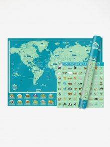 Velká modro-zelená nástěnná stírací mapa Luckies Wild World