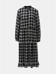 Bílo-černé kostkované košilové šaty Vila Kallie