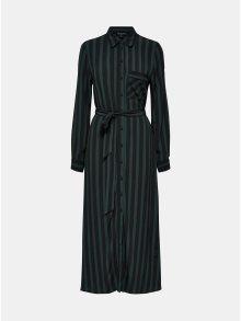 Černo-zelené pruhované košilové maxišaty Selected Femme Florenta