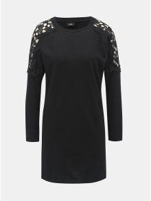 Černé mikinové šaty s krajkovými detaily ONLY Asta