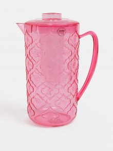 Růžový vzorovaný džbánek na vodu s kelímkem Kaemingk