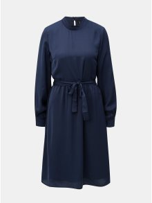Tmavě modré šaty s dlouhým rukávem VERO MODA Billia