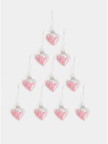 Sada dvanácti vánočních ozdob v růžové barvě ve tvaru srdcí Sass & Belle Confetti Sequin Baubles