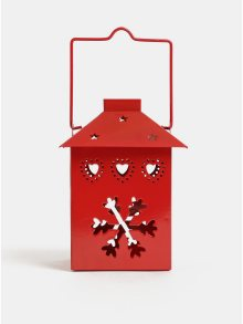 Červená lucerna s motivem vloček Kaemingk
