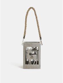 Světle šedá dřevěná lucerna s motivem jelena Kaemingk
