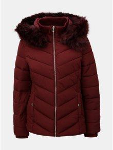 Vínová prošívaná zimní bunda s umělým odnímatelným kožíškem Miss Selfridge