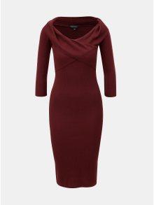 Vínové žebrované pouzdrové šaty s lodičkovým výstřihem Dorothy Perkins