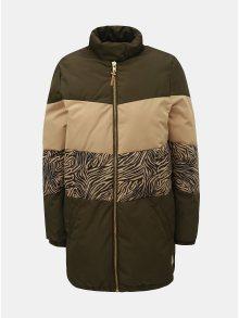 Khaki vzorovaná zimní prošívaná bunda na zip Femi Stories