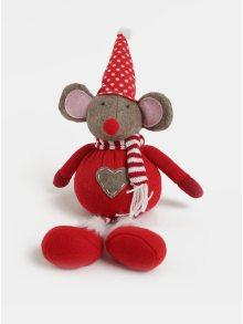 Červená vánoční figurka ve tvaru myši s puntíkovanou čepicí Kaemingk