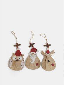 Sada tří kusů dřevěných závěsných vánočních dekorací Kaemingk