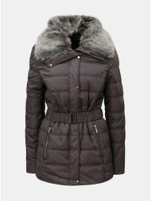 Šedá prošívaná zimní bunda s umělým kožíškem Dorothy Perkins Tall