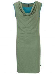 Zelené šaty s řasením v dekoltu Tranquillo Aurea