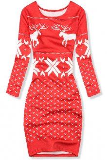 Červené šaty se zimním motivem