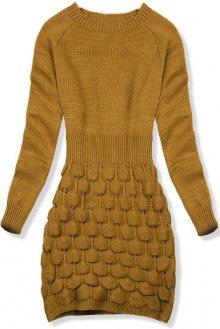 Mustard krátké pletené šaty