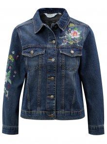 Tmavě modrá džínová bunda s výšivkou Dorothy Perkins Petite