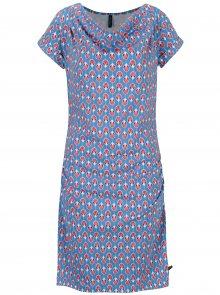Modré vzorované šaty s řasením v dekoltu Tranquillo Petraea