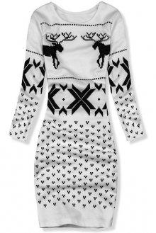 Bílé šaty se zimním motivem