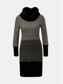 Šedo-černé vzorované svetrové šaty s límcem Smashed Lemon