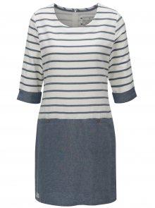 Modro-bílé pruhované šaty s 3/4 rukávem Brakeburn