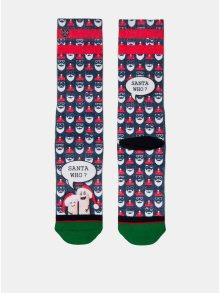 Červeno-modré pánské ponožky s motivem Santa Clause XPOOOS