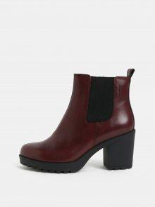 Vínové dámské kožené chelsea boty na podpatku Vagabond Grace