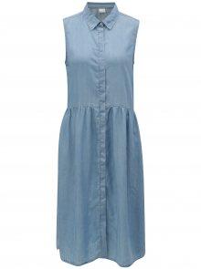 6970f778cf2c Světle modré košilové šaty bez rukávů Selected Femme Chloe