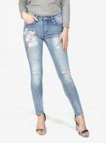 Modré skinny džíny s potrhaným efektem  Haily\'s Ava
