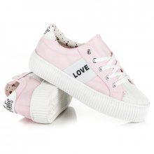 Elegantní růžové tenisky na platformě s nápisem Love&Peace