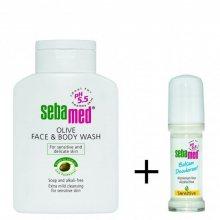 Sebamed Mycí emulze na obličej a tělo s olivovým olejem 200 ml + roll on balzám Sensitive 50 ml dárková sada