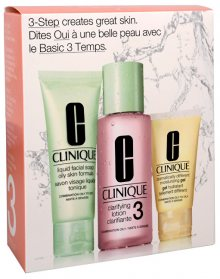 Clinique 3step Skin Care System3 Liquid Facial Soap Oily Skin 50 ml + Clarifying Lotion 3 100 ml + DDMGel 30 ml dárková sada