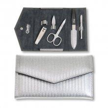 Credo Solingen Luxusní 4 dílná manikúrave stříbrném pouzdře Carbon 4