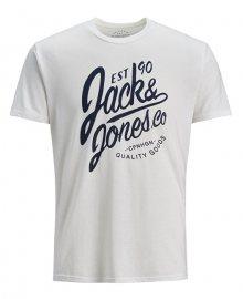 Jack&Jones Pánské triko T-shirt Male Knit PL55/CO35/VI10 Cloud Dancer S