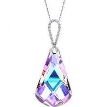 Preciosa Výrazný stříbrný náhrdelník Cygnus Vitrail Light 6113 43 (řetízek, přívěsek) 75 cm