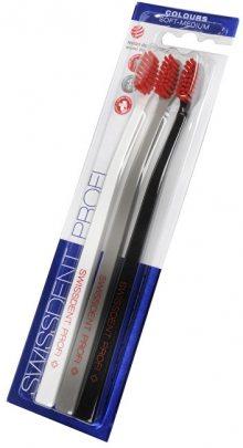 Swissdent Zubní kartáček Colours Soft-Medium 2 + 1 ZDARMA (černá + bílá + šedá)