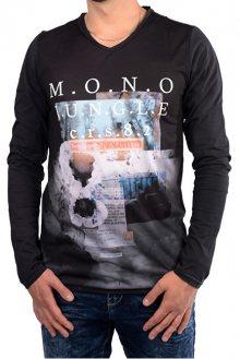 Cars Jeans Pánské černé tričko s potiskem Porzo Black 4597201 M