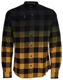 ONLY&SONS Pánská košile Gudmund Ls Dip Dye Mandarine Shirt Chai Tea S