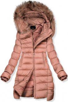 Růžová prodloužená zimní bunda